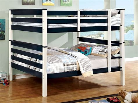 blue bunk bed transitional blue white full over full bunk bed