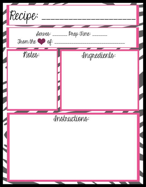 mesas place full page recipe templates  printables