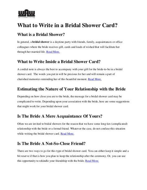 What To Write On Bridal Shower Card by What To Write In A Bridal Shower Card