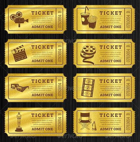 gold ticket template ticket templates free premium templates