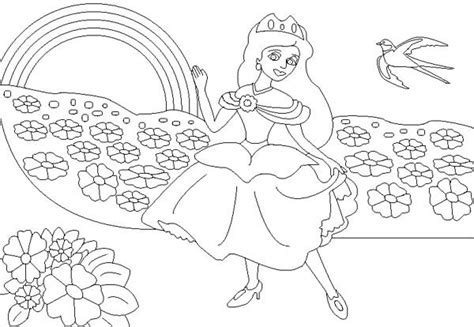 The Princess And The Rainbow Coloring Page