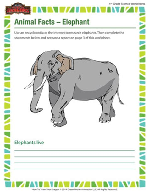 printable animal trivia printable science worksheets for 4th grade grade 8