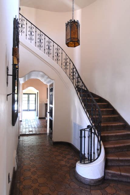 banister in spanish hollywood spanish colonial restoration mediterranean