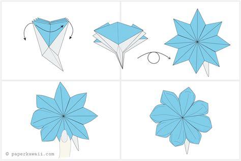 Origami Flower Diagram - how to make a pretty origami blossom flower