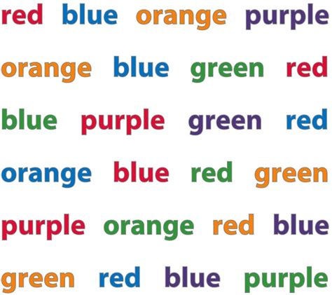 color word test ridley stroop the of names