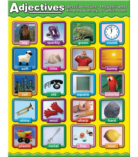 free printable adjective poster adjectives chart grade 1 3 carson dellosa publishing