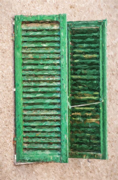Tuscan Window Shutters Green Window Shutters Of Tuscany Painting By David Letts