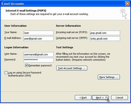configuring gmail in outlook express using pop3 server