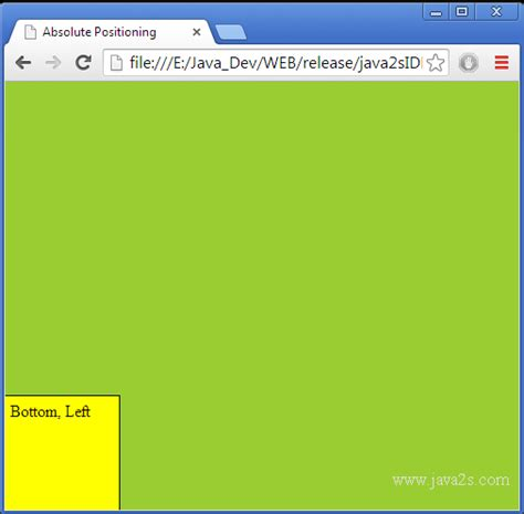 css layout absolute use absolute position with bottom and left in html and css