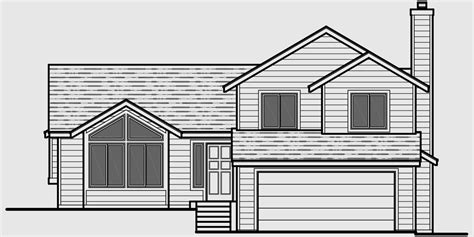 drawing of a house with garage split level house plans 3 bedroom house plans 2 car