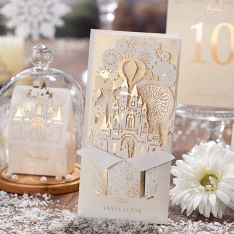 3d diy gold castle wedding invitation luxury custom made