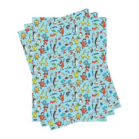 dr seuss gift wrap 3 sheets of dr seuss characters gift wrap gift wrap