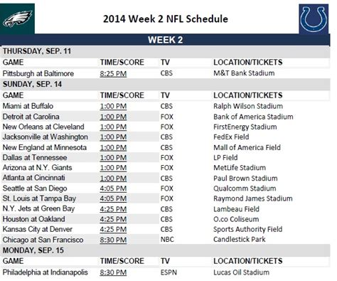 printable nfl schedule for week 2 printable 2014 nfl week 2 schedule