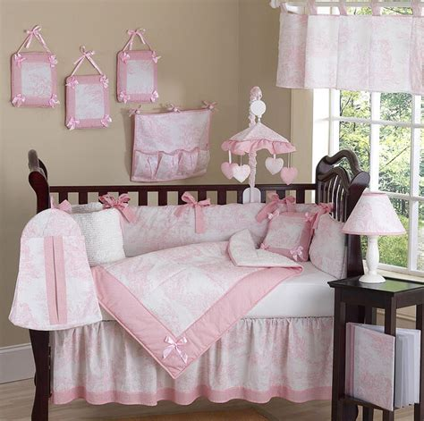 luxury boutique pink white toile discount 9pc baby crib bedding set ebay