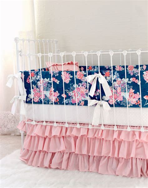 navy and pink baby bedding pink and navy baby girl bedding custom crib bedding navy