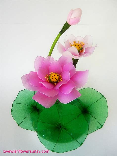 Handcraft Flower - pink and white lotus handcraft fabric flower and leave