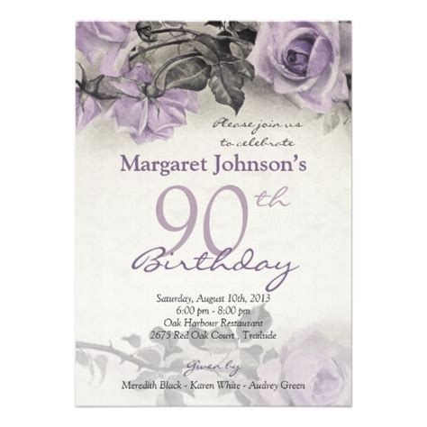 Vintage purple rose 90th birthday invitations   Customize online!
