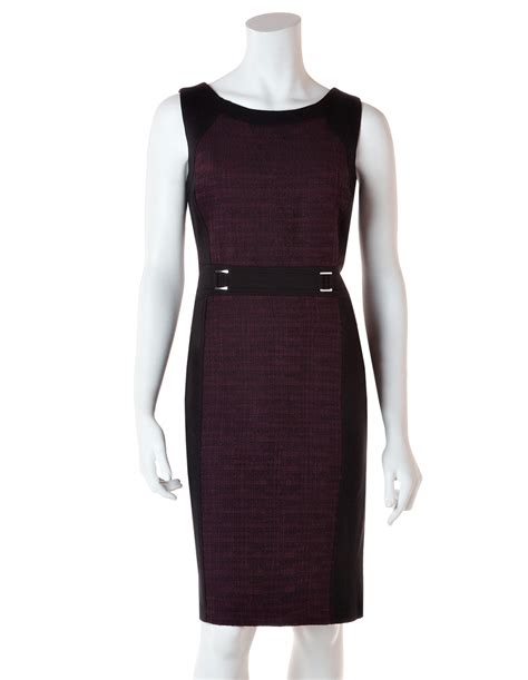 berry tweed shift dress with belt cleo