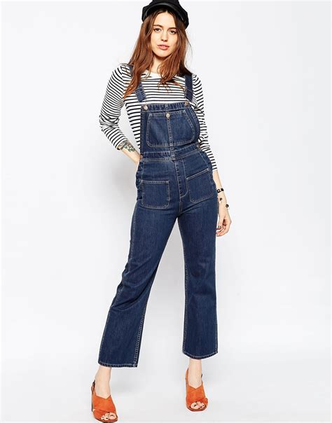 Yc Axcelo Denim Cp Denim Slim Fit Jumpsuit Free Belt Inner asos denim cropped flare dungarees in blue lyst