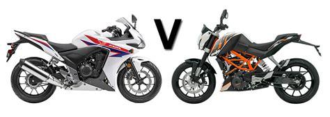 Ktm Vs Honda Versus Honda Cbr500r Vs Ktm Duke 390 Visordown