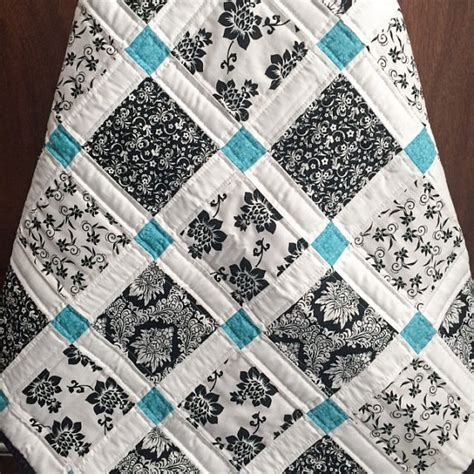 black and white baby quilt pattern modern baby quilt black white and teal colors
