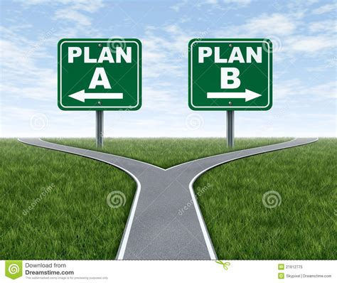 how to get more people on cross road cross roads with plan a plan b road signs royalty free