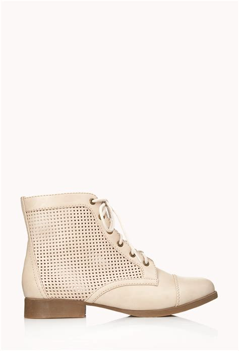 forever 21 shoes boots forever 21 perforated combat boots in beige sandshell lyst