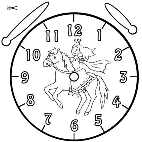 Kostenlose Vorlage Uhr Kostenlose Malvorlage Uhrzeit Lernen Ausmalbild Prinzessin Und Pferd Zum Ausmalen