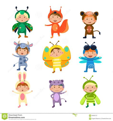fancy dressed animals a collection of illustrations books wearing insect and animal costumes stock vector