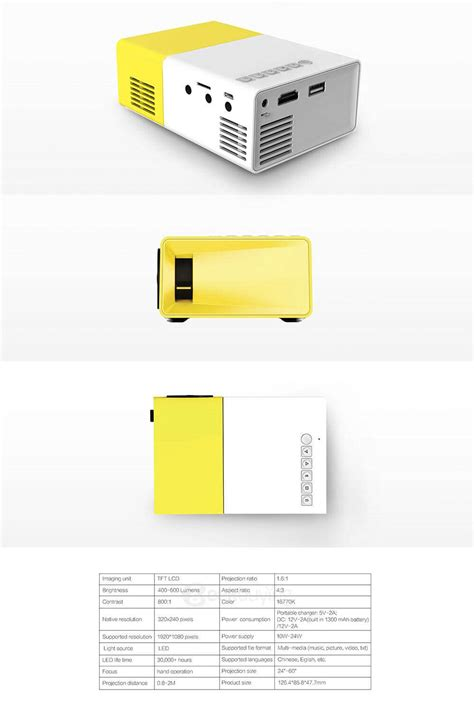 Proyektor Yg 300 yg 300 mini pocket lcd projector yellow