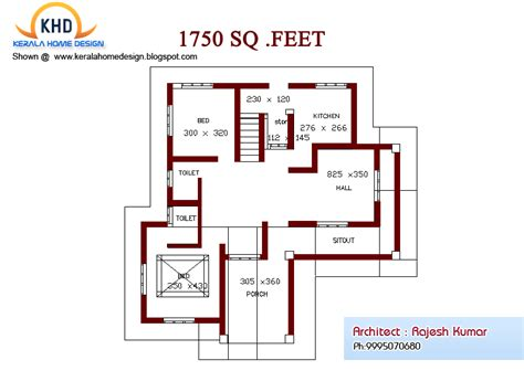 750 Square Feet home plan and elevation 1750 sq ft kerala home