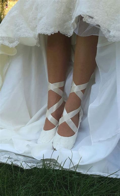 Braut Ballerinas by Lace Ballerina Style Bridal Shoe Ivory Lace Flat Wedding