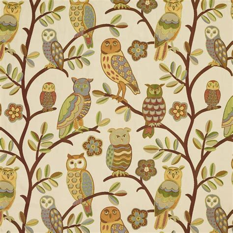designer upholstery fabric by the yard gold copper and green owls and branches designer