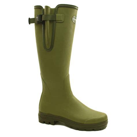 boots green le chameau vierzon 2 unisex buckle rubber wellington