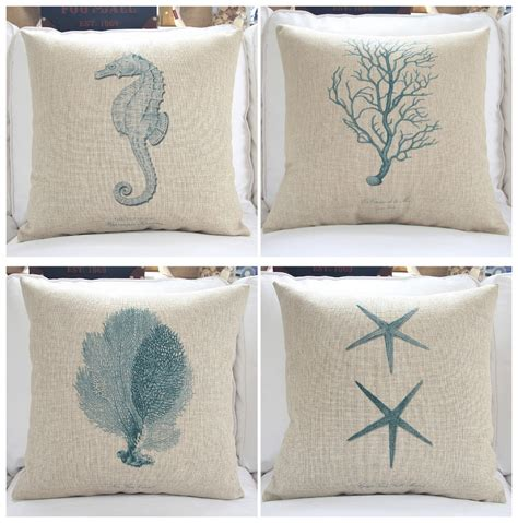 Sofa Pillow Cover by Thick Cotton Linen Sofa Pillows 18 Sea Cushion Covers
