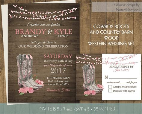 Printable Country Western Wedding Invitations Set Cowboy Boots Cowboy Wedding Invitations Templates