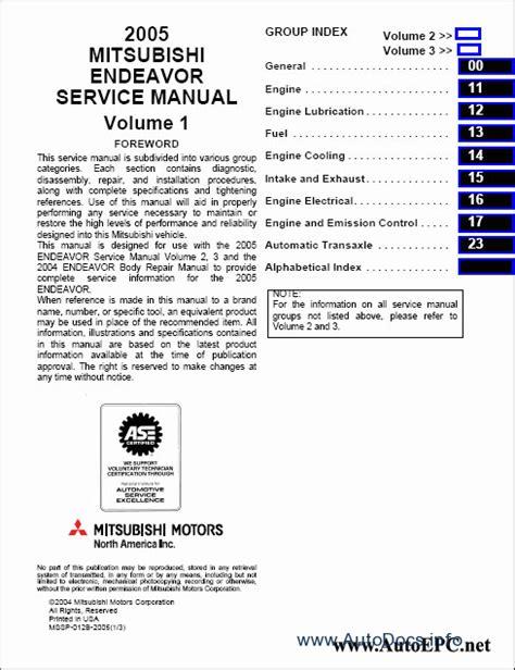 service and repair manuals 2004 mitsubishi endeavor instrument cluster mitsubishi endeavor 2004 service manual repair manual order download
