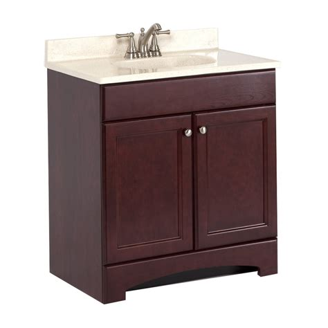 Style Selections Bathroom Vanity Shop Style Selections 30 6 In X 18 7 In Cherry Integral Single Sink Bathroom Vanity With