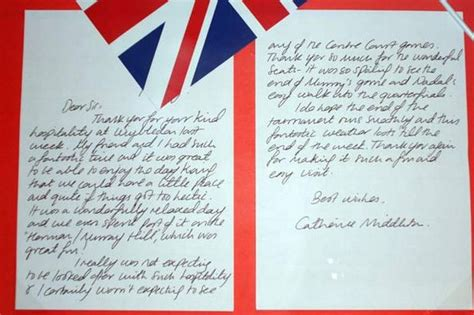 thank you letter to your friend for hospitality kate middleton s thank you note to wimbledon chiefs