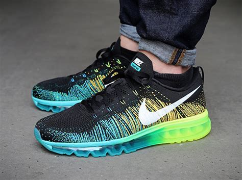 sepatu nike airmax 5 0 nike flyknit air max black white turbo green volt