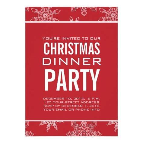snowflakes christmas dinner party invitation snowflakes