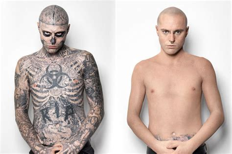 cover tattoo with makeup boy rick genest covers up his tattoos huffpost