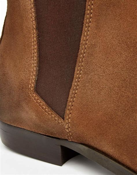 asos pointed chelsea boots in brown suede in brown for