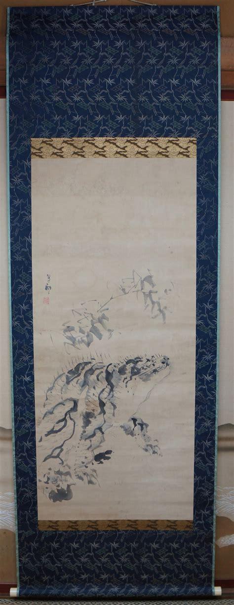 japanese nekotora tiger scroll 1890s painting on washi paper zen japan ebay