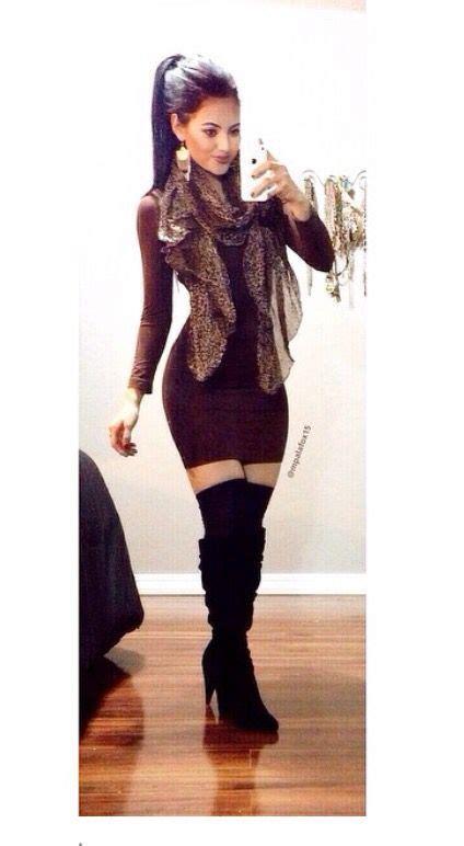 burgundy sleeve bodycon dress with knee high boots