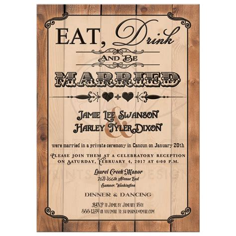 wedding announcements and reception invitations post wedding reception only invitation eat drink and be