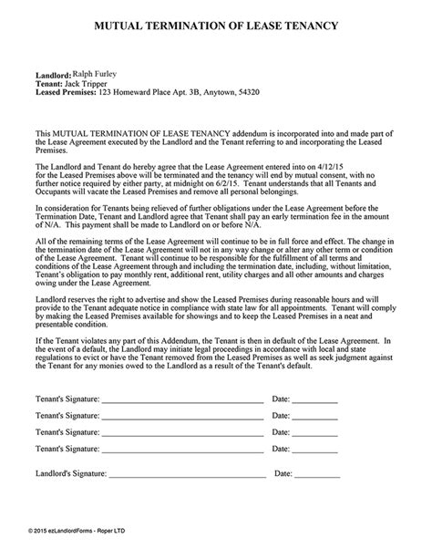 landlord termination of lease letter sample letter template