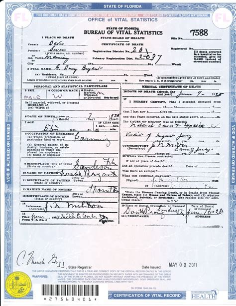 Florida Birth Records Index Sle Certificate In Florida Image Collections