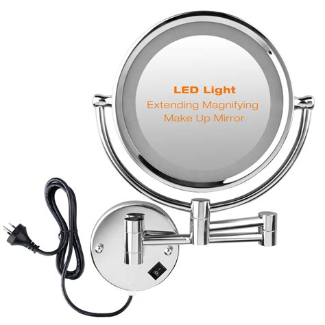 lighted bathroom mirrors magnifying led light 2 sided bathroom make up mirror wall mounted 10x