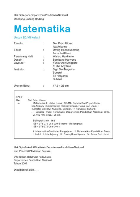 Buku Asyik Belajar Matematika 3 4 Satu Set Murah sd1mat matematika dwi priyo
